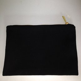 Wholesale Cotton Pouch Bag Wholesale - blank black color pure cotton canvas make up bag with matching color lining top quality gold zip bag blank cotton pouch for DIY print paint