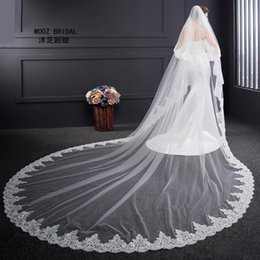 Wholesale Wedding Veil Ivory 3m - Wedding Veil High Quality 2017 long Length Two Layers 3m Width Elegant Luxury Real Image Long Elegant Lace Bridal Veils with Metal Comb