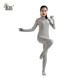 Wholesale Red Unitard Xl - Wholesale-(5 pieces lot) Zentai Gray Bodysuit Women Halloween Dancewear Turtleneck Unitard Second Skin Headless Full Body Tights Suit