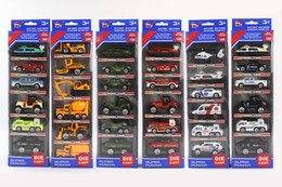 Wholesale Plastic Toy Police Car - 6pcs 1:64 Metal Diecast Cars Firefighting Trucks Police Ambulance Fire Military Trucks Car City Vehicle Toy Boys Gifts