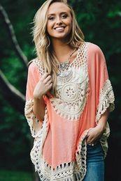 2016041518 летний стиль 2016 женщины блузки o шеи лоскутное Crocht блузка плюс размер Blusa Feminina богемный рубашка топ пляжная одежда Ropa Mujer от Поставщики ropa mujer plus