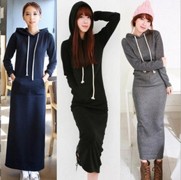 Wholesale Long Sleeved Maxi Dresses Women - 2017 Spring New Korean Black Gray Sweater Dress Plus size Women's Sport Casual Sweater Fleeced Hoodies Long Sleeved Slim Maxi Dresses
