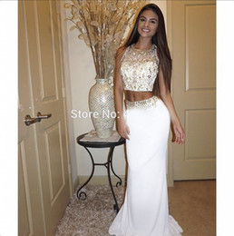 Wholesale Long White Coctail Dress - White two piece prom dress 2016 o neck beaded crystal slim long women pageant gown for formal coctail party
