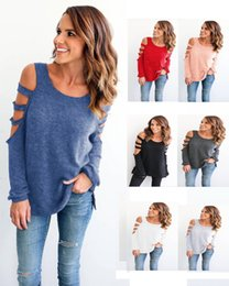 Wholesale Wholesale Women S Cut Out - Europe Candy T Shirt Women Long Sleeve Cold Shoulder Tops Autumn Loose Tees Sexy Ladies Round Neck Cut Out T-shirt