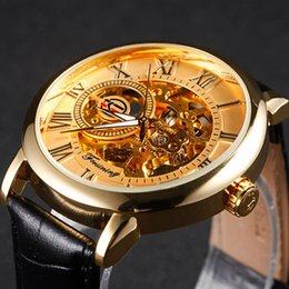 Wholesale Golden Number Mechanical - FORSINING Golden Case Luxury Men Rome Number Display mechanical Black Dial Male Casual Watch Top Watch Wristwatches
