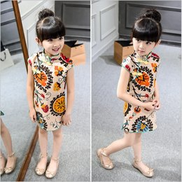 Wholesale Turtleneck Collar Kids - Free shipping 2016 ethnic summer chinese dress kids for girl short sleeve stand collar straight print cheongsam dresses qipao sale