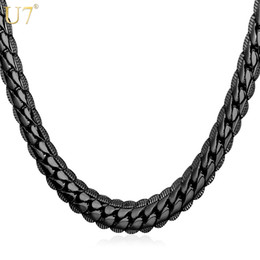 Wholesale Mens Snake Necklace - New Black Long Necklace For Mens Fashion Gun Plated Wholesale Trendy 6 Size 6 MM Wide Snake Chain Necklace Men Jewelry N559
