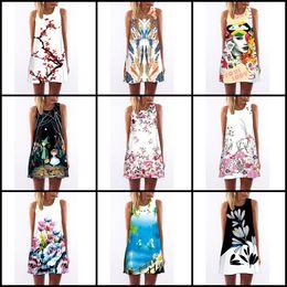 Wholesale Wholesale China Girls Summer Dress - Newest fashion Women summer Casual Dress Plus Size China 23 Designs Clothing Fashion Sleeveless red lip flower painting girl beach Dress