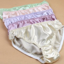 Wholesale price real - New promotion price Women Silk Satin Panties Female Respiratory Underwear Ladies Knickers Briefs Complete real silk underwear