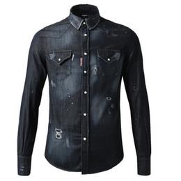 Wholesale Blue Shirt Jeans - Black Jeans Shirt Men Big Size 3XL Man Denim Cotton Shirts Stitch Detail Destroyed Vingate Trim Fitness Patchworks