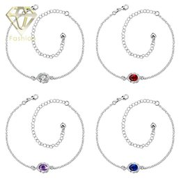 Wholesale Baby Feet Jewelry - King Baby Jewelry New Arrival Fashion Blue Purple Red White Austrian Crystal Charm Anklets Silver Plated Foot Chain Bracelets