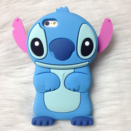 Wholesale Iphone Case Cartoon Gel Animal - for iPhone X 3D Stitch case Cute Silicone Rubber Gel Cartoon cases for iphone 7 8 plus Animal Blue Long Ears phone rubber Back cover HOT
