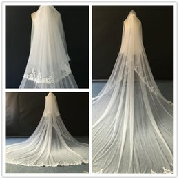 Wholesale 5m Wedding Veil - Top Quality Ivory Long Wedding Veils Soft tulle with Floral Applique 3m*5m Long Bridal Veils with Comb Top Quality Wedding Accessories