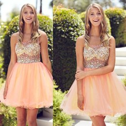 Wholesale Sparkly One Shoulder Homecoming Dresses - New Sparkly Short Orange Homecoming Dresses 2016 One Shoulder Crystal Beading Modest Short Junior Graduation Party Cocktail Gowns Cheap