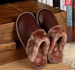 Wholesale High Heeled Booties - High Quality Winter Warm Home Slippers Couples Genuine Cow Leather Leisure Lamb Wool Cow Muscle Women Men Indoor Floor Slippers