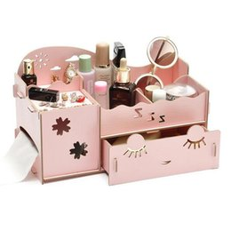 Wholesale Diy Candy Boxes - 2016 lovely Cute candy color Korean Desktop Organizer DIY Wooden Board Storage Box Desk Decor Stationery Makeup Cosmetic Organizer New