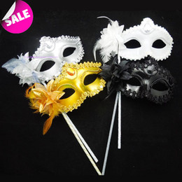 Wholesale Masquerade Mask For Stick - Luxury Diamond Woman Mask On Stick Sexy Eyeline Venetian Masquerade Party Mask Sequin Lace Edge Lateral Flower Gold Silver Black White Color
