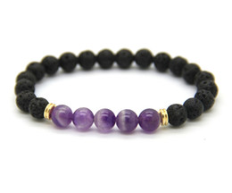 Monili di pietra naturale del mens online-New 8mm Black Lava Stone Natural Purple Amethyst Stone Beads Stretch Donna Mens Energy Yoga Bracciali regalo gioielli