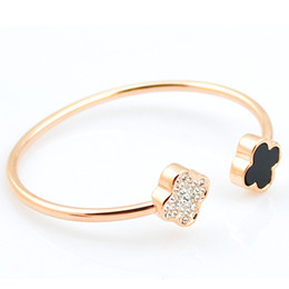 Wholesale Bangles Nickel Free - 2016 Best Seller Rhinestone Clover Bangle For Women 18K Real Gold Plated Fine Jewelry Nickel & Lead Free Fashion Indian Bangles