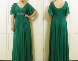 Wholesale Women Sexy Figures - Green Long Floor Length Sleeves Chiffon Full Figure Women Plus Size Bridesmaid Dress Plus Size Party Dresses HY1409