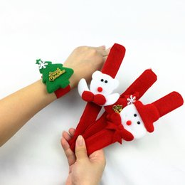 Wholesale Wholesale Boot Bracelets - Christmas Gift Xmas Decoration Cute Slap Bracelet Bangle Xmas Pat Circle Hand Ring Christmas Boots Candy Box For Kids Shoes