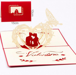 Wholesale Three Dimensional Cards - Creative 3d hollow three-dimensional greeting cards sculpture lovers letter little cards Valentine's Day DHL free ship