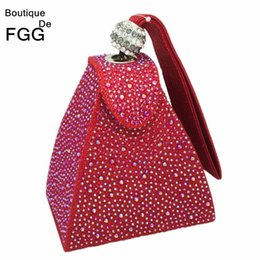 Wholesale Orange Wedding Evening Bags - Wholesale-Women Handbags Purse Wedding Party Mini Red Gliter Pyramid Wristlets Hot-Fixed Crystal Diamond Day Clutches Evening Clutch Bags