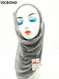 Wholesale Hot Muslim Women - VICBOND Hot sale pure solid colour stripe viscose cotton scarf shawl pashmina women Muslim hijab fashion soft 10pcs lot