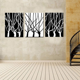 Wholesale Three Panel Canvas Art Sets - Black and White of Tree Wall Art Decor - Contemporary Large Modern Hanging Sculpture - Abstract Set of 3 Panels