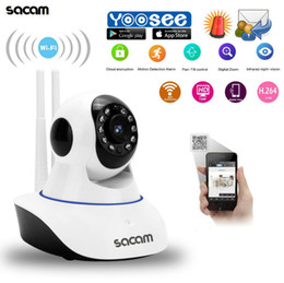 Wholesale battery cctv - Wholesale- Sacam 720P WiFi Wireless Security Indoor IP Camera Network Pan Tilt CCTV Home Burglar Alarm Systems Motion Detection app. YOOSEE