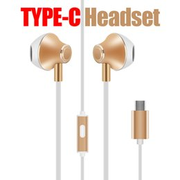 Wholesale Cell Headphone Plug - Original Remax In-ear Earphone Aluminium alloy HiFi Headphones Digital HD sound Type-C Plug Earphones with Mic for xiaomi mi6 android phones