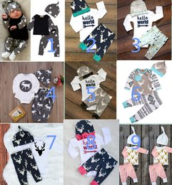 Wholesale Girls Deer T Shirt - Newborn Baby Girls Boys Clothes Deer Tops T-shirt Romper+Deer Leggings Pants Hat letetr Outfits Set 3pcs Outfits Set