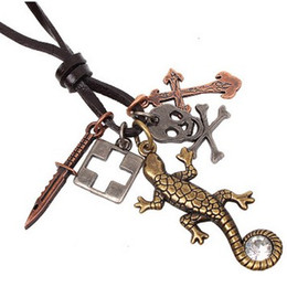 Wholesale Lizard Necklace Jewelry - Multi elements CZ Lizard Gecko NECKLACE Brass style fashion Necklaces Lovely fashion retro jewelry unisex fashion party necklaces jewelry