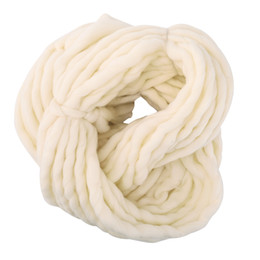 Wholesale White Crochet Scarf - New 10 Colors Soft Wool Roving Bulky Thick Big Yarn Spinning Hand Knitting Thread Crochet Yarn for Hat Scarf Knitting 2pc