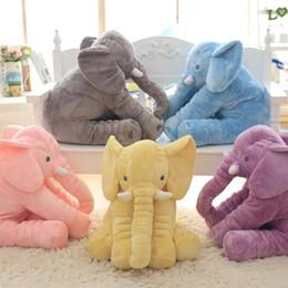 Animais de pelúcia gigantes on-line-2016 Venda Quente Frete Grátis 60 cm Colorido Gigante Elefante Animal De Pelúcia Brinquedo Animal Forma Travesseiro Brinquedos Do Bebê