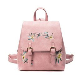 Wholesale Floral School Bags - Women Leather Backpacks Female School bags for Girls Rucksack Small Floral Embroidery Flowers Bagpack Mochila