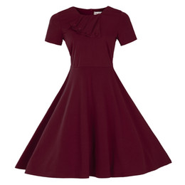 Wholesale Cheap 3xl Short Dress - 2017 Vintage Spring Summer Short Sleeves Casual Dresses 3 Colors Crew Neck Plus size S-3XL Cheap Fashion Robe Rockabilly Dresses MC0899