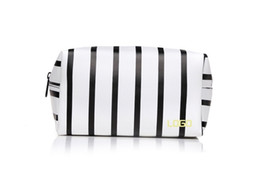 Wholesale Ladies Handbags For Travelling - Best selling striped promotional pu cosmetic bag with zipper top for travel  high quality ladies designer handbags stripes pu cosmetic bag