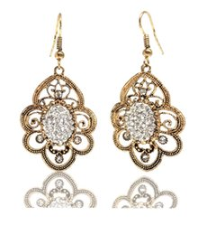Wholesale Accent Earrings - Floral Style Gold-Tone Crystal Paisley Filigree Drop Earrings Hook Open Back Crystals Accent Antique Flower Dangle Earrings
