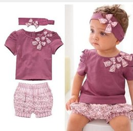 Wholesale Baby Purple Set - Free Shipping Amissa Baby girls floral suit three-piece sets (shirt + shorts pants+headband) Kids Outfit sets girls clothing kids