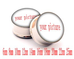 Wholesale Double Flared Acrylic Tunnels - fashion body jewelry custom white stainless steel double flared ear piercing gauges body jewelry ear plugs tunnels making supplier 6-25mm