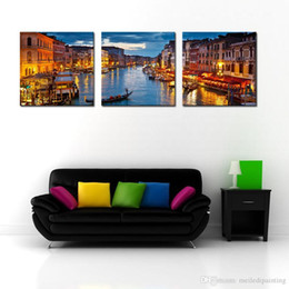 Wholesale Venice Italy Painting - Canvas Print Wall Art Painting For Home Decor View On Grand Canal At Night Venice Italy The Basilica Of St Mary Of Paintings on Canvas
