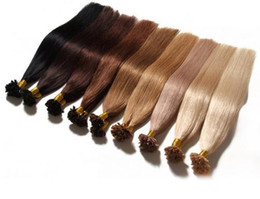 "Wholesale U Tip Hair Extensions 22 - 100g 16""18""20""22""24"" Prebonded Keratin Nail Tip U tip Fusion Indian Remy Human Hair Extensions 100 s pcs"