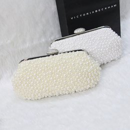Wholesale Ivory Pearl Wedding Handbag - Hot Sell Bling Bling Bridal Evening Bags In Stocks 2016 White and Ivory Sparkly Heavy Pearls Bride Handbags Fashion Beaded Bag For Event