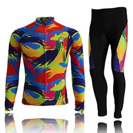 Wholesale Cycling Pants Jersey Set - Hot sale new Cycling Jersey Cycling Bike Bicycle Clothes Men Suit Long Sleeve Jersey Pant Set Thermal Fleece Colored stripes