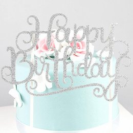 Wholesale Plastic Birthday Cake Toppers - Glitter Gold Silver Happy Birthday Party Cake Topper Decoration for kids birthday party favors baby decorating Cake Accessory