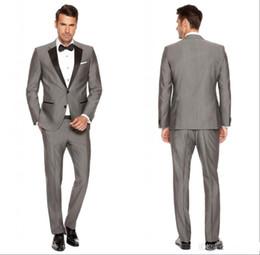 Wholesale Mens Bow Ties Beige - 2016 Custom Grey Mens Suits Black Lapel Slim Fit Wedding Suits for Groom   Groomsmen Prom Casual Suits (Jacket+Pants+Vest+Bow Tie)