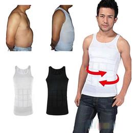 Wholesale Hot Spandex Vest - Wholesale-Hot Sale Men's Tummy Slimming Corset White  Black Sport Vest Spandex Body Shaper for Male M-2XL