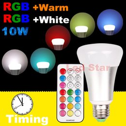 Wholesale E27 Led Remote Base - 10W RGBW Bulb Light 2-in-1 Timing Setting LED Bulb E26 E27 Base A19, 800 lumens, Dimmable Bulb with Remote Control