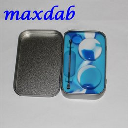 Wholesale Tin Cover - Hot selling 2016 new design BHO silicone concentrate container set with dabber dab tool and tin box, wax oil tin container wholesale